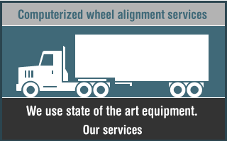 Computerized wheel alignment services. We use state of the art equipment.